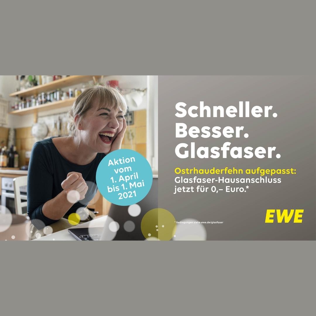 EWE Glasfaser für Weener, Bunde, Rhauderfehn und Ostrhauderfehn